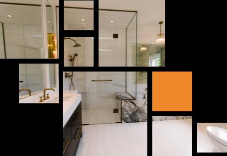 walk-in glass shower in modern bathroom